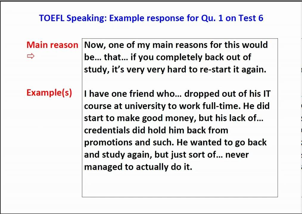 toefl speaking essays Not sure how to approach the toefl essays  get online practice (tpo-sytle)  and individual grading and feedback on speaking and writing.