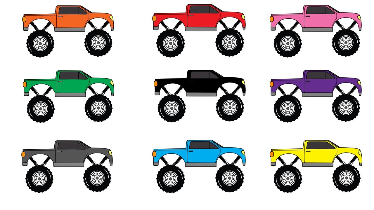 Learning Colors with Monster Trucks. Cars Crushing ...