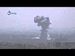 Video Qasioun News  Rif Dimashq  Syrian warplanes launch airstrike over Kfar Batna city 12 8 2015