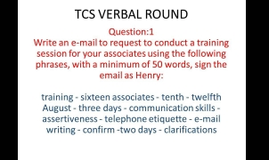 TCS Email writing Question and Answer -1