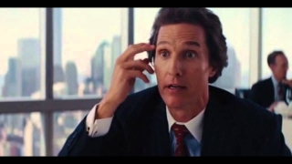 Wolf of Wall St: coked-out Wild Man broker Matthew McConaughey plying DiCaprio w/ advice & Martinis
