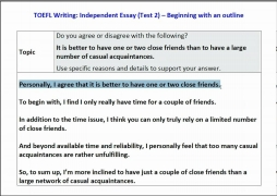 TOEFL iBT Independent essay sample topic + how to outline your response