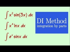 integration by parts, VERY EASY, DI method, with 3 typical examples , MUSIC