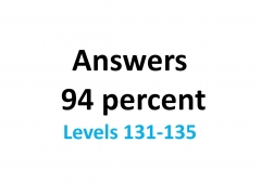 Answers 94 percent (%) - 131-135 levels (English) #49