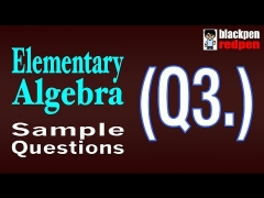 Elementary Algebra Q3 | Pierce College math assessment sample MDTP