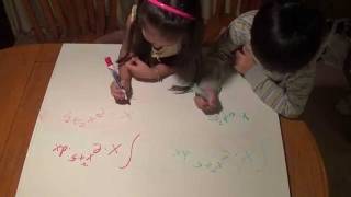 5-Year-Old  math whiz kid doing Integral calculus,  exponential function